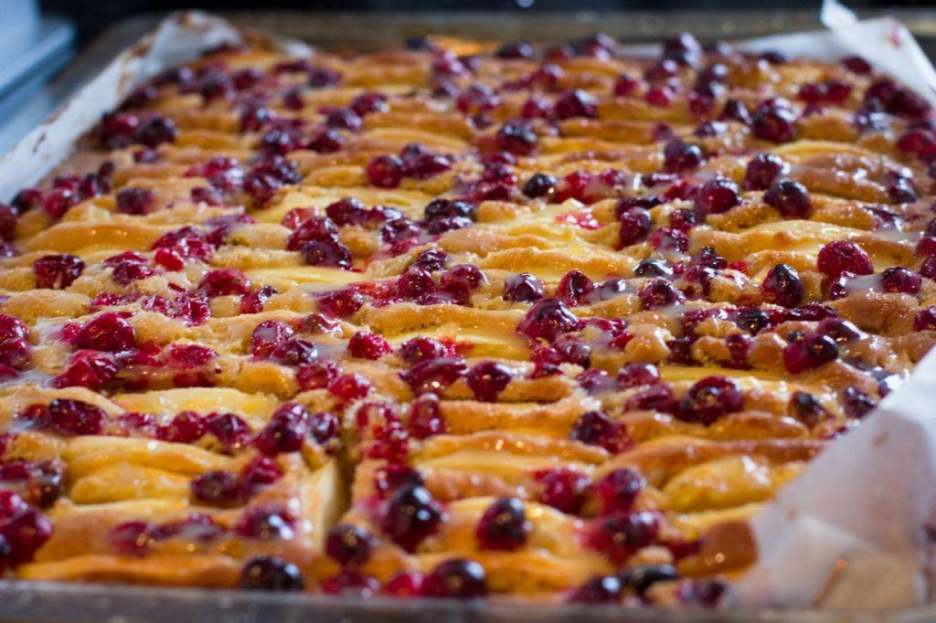 Cranberryplaatcake met appel