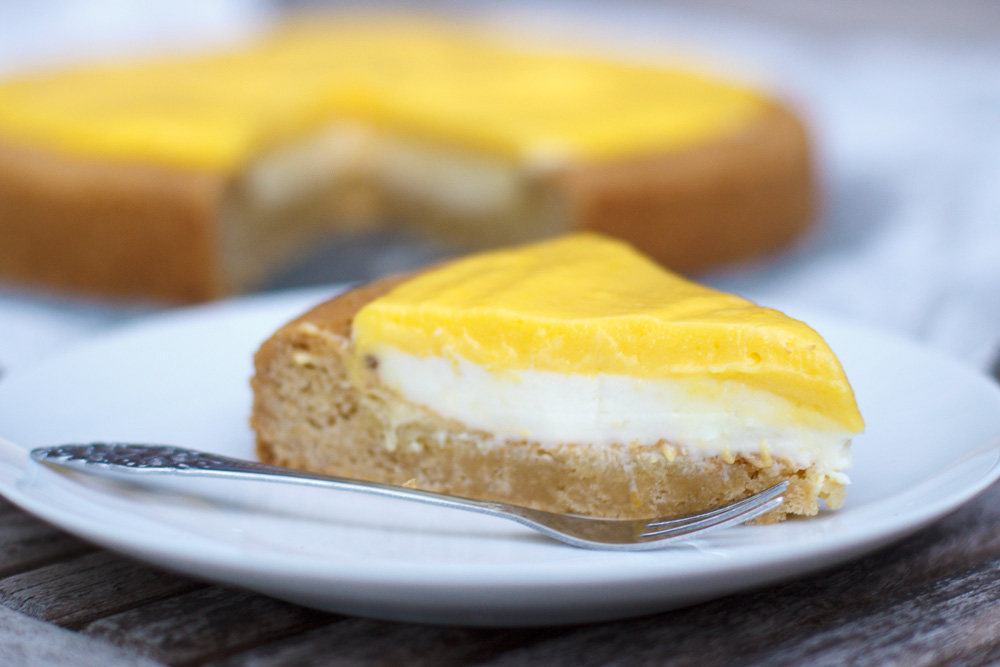 Zomerse mango curd taart