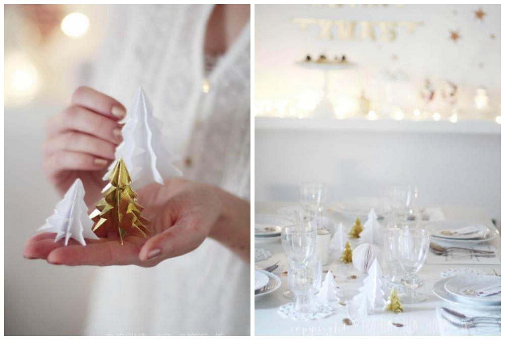Kerst Tafel Decoratie : Kersttafel decoratie dennenboompjes van papier zoetrecepten