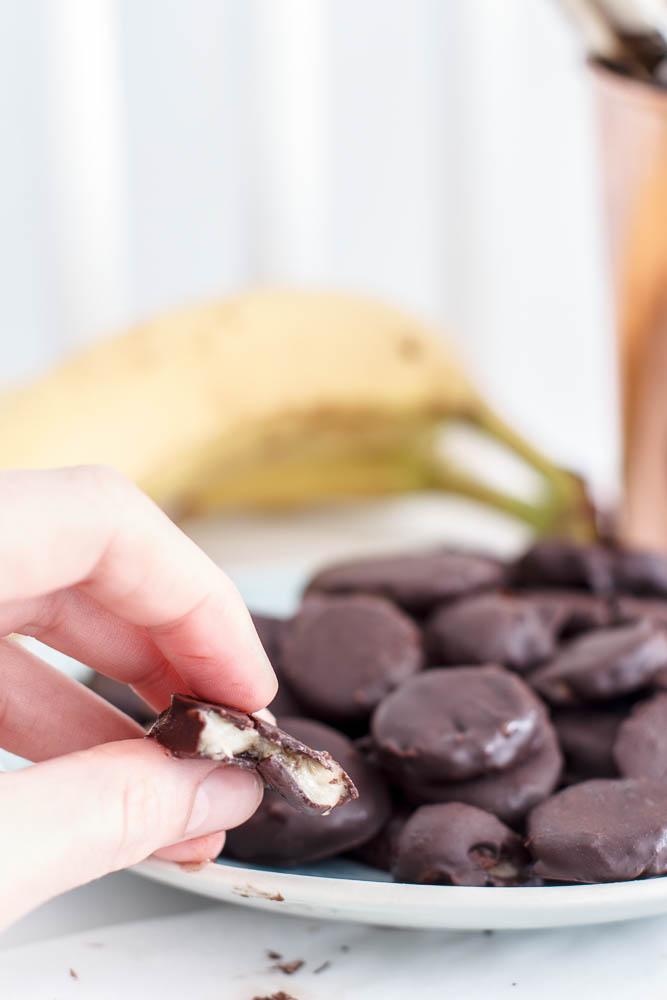 Chocolade bananenijsplakjes