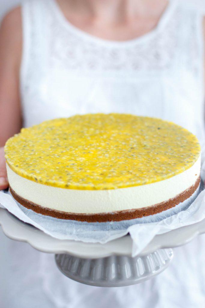 No bake passievrucht cheesecake