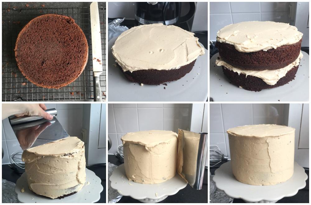 Een drie lagen tellende epic birthday chocolade cake, met een salted caramel botercrème, een druipende chocolade ganache en een knapperig kunstwerk van crispy bacon.