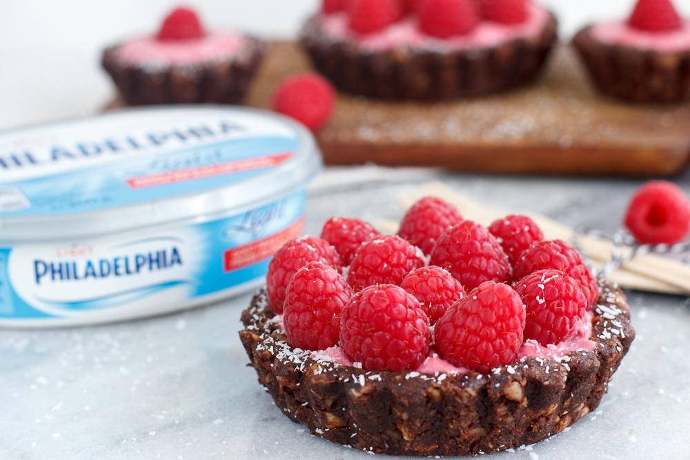 Glutenvrije frambozen chocolade cheesecakejes|