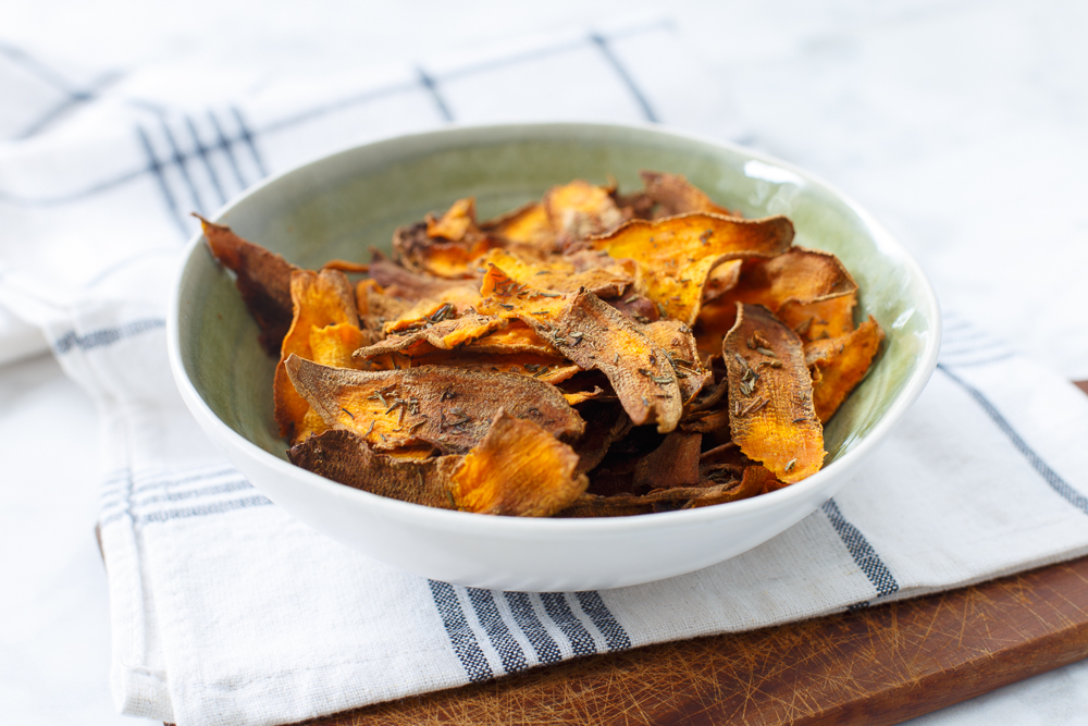 krokante zoete aardappelchips