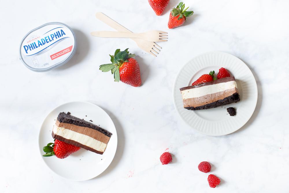 Chocolade laagjes cheesecake