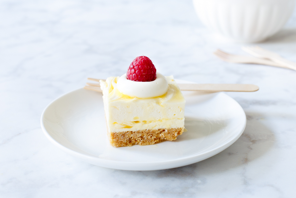 No-bake citroencheesecake bars