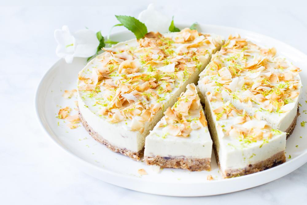 Vegan kokos limoencheesecake