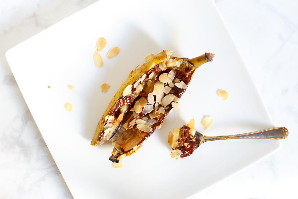 Chocolade bananen met amaretto   BBQ toetje