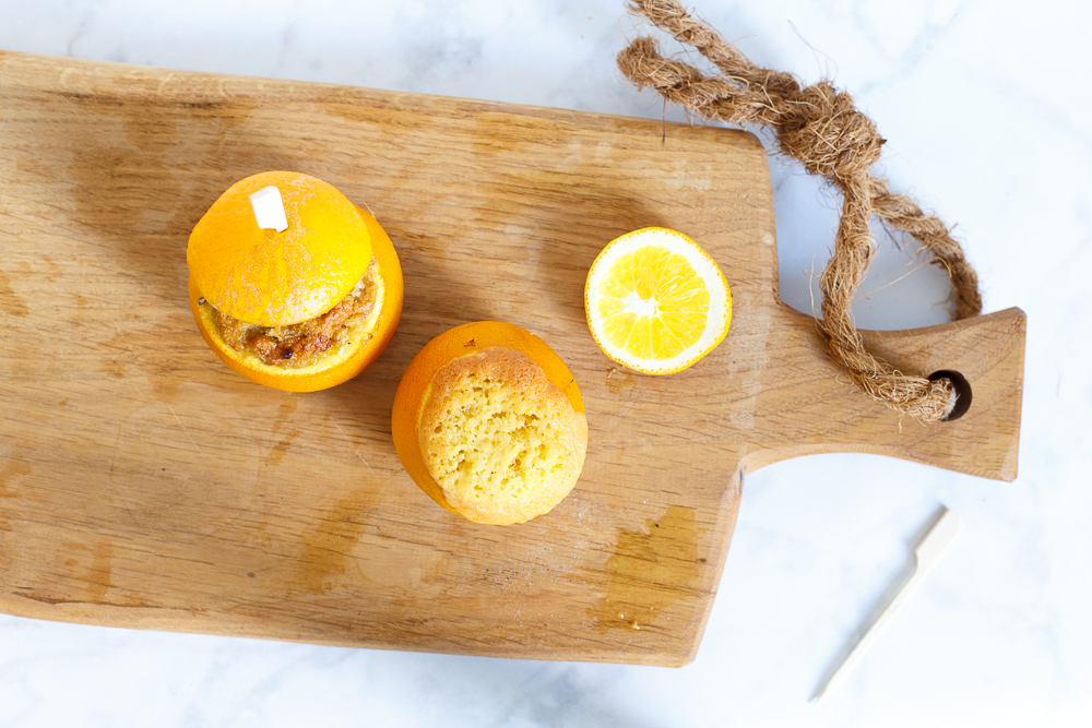 Sinaasappelcakejes van de BBQ