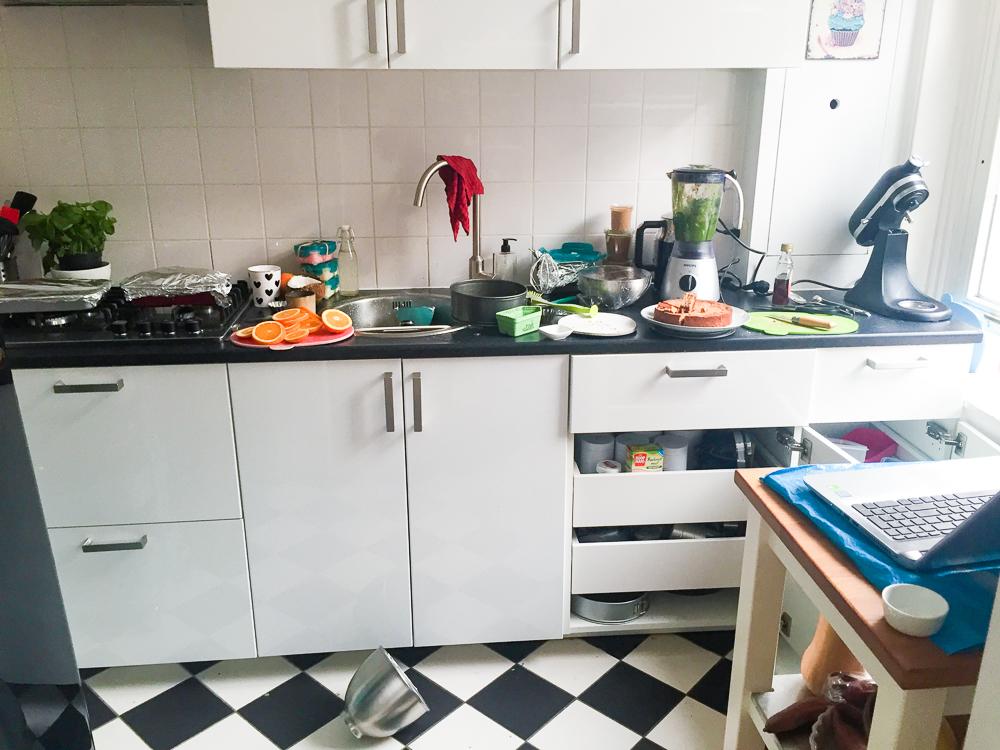 Keuken na een bakdag