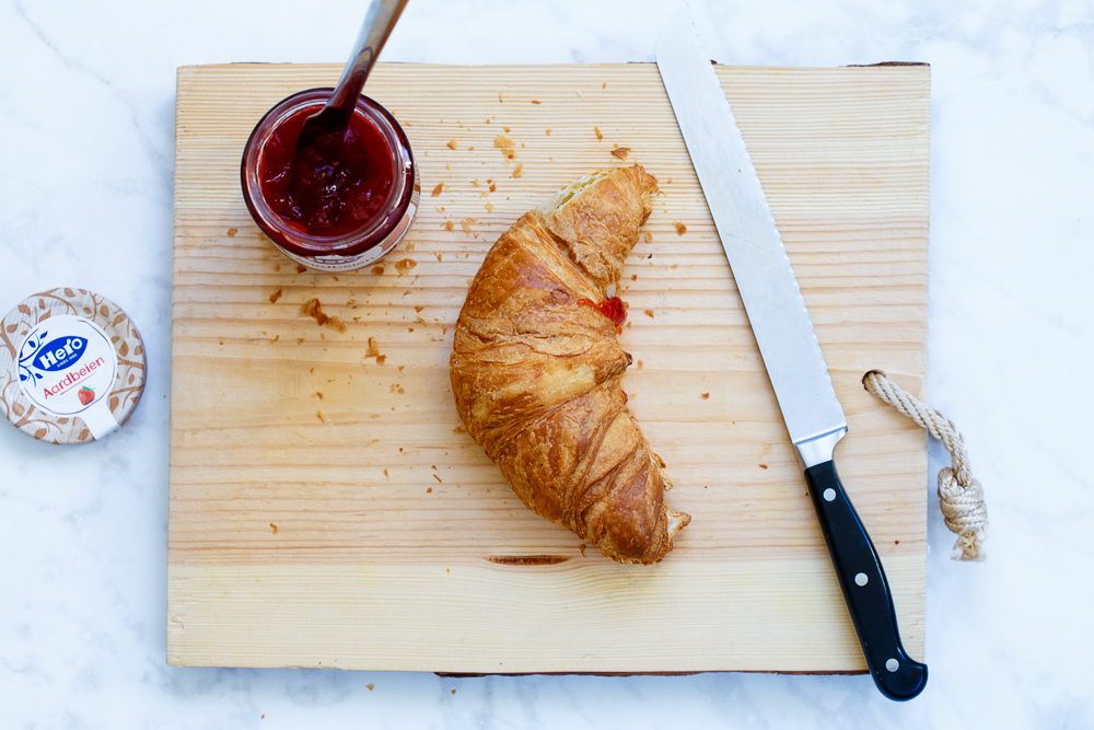 Croissant wentelteefjes met jam