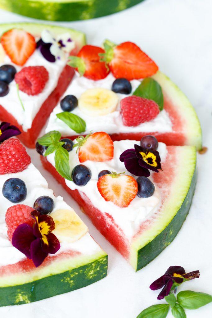 Watermeloen pizza taart