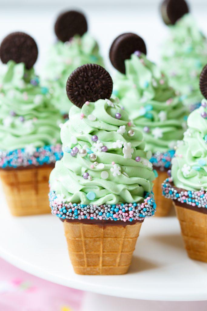 Minty Oreo Kerstboomcupcakes