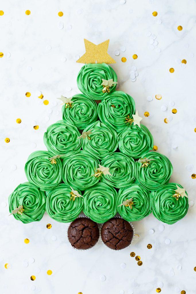 kerstboom van cupcakes