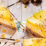 Mango en passievrucht zebra cheesecake